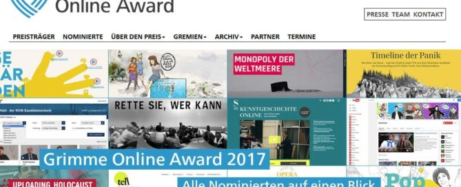 Webseite des Grimme Online Awards